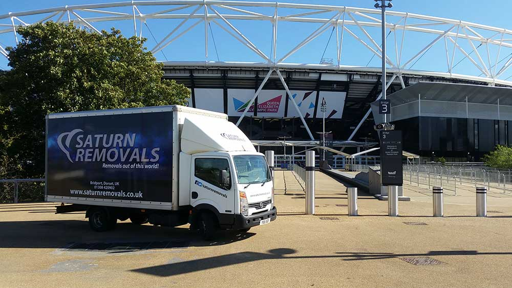 Saturn Removals making a delivery to Wembley Stadium in London